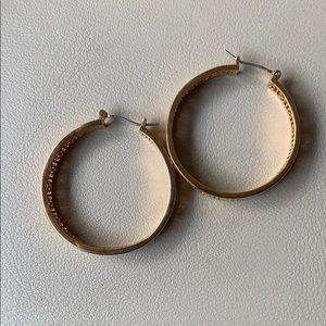 Tory Burch Jewelry - Tory Burch Kinsley gold logo hoop earrings